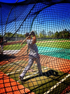 Center fielder Brett Jackson taking Batting Practice at Giants Minor League complex